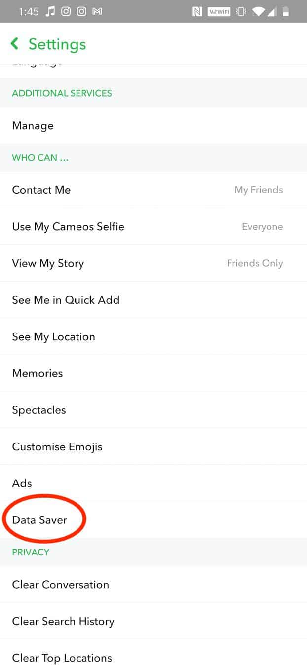Scroll down to tap the Data Saver option | How to Fix Tap to load Snapchat