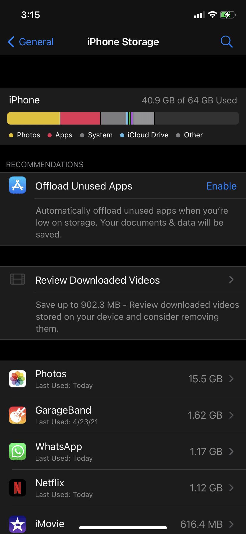 See a list of all applications installed, along with the storage space they are consuming