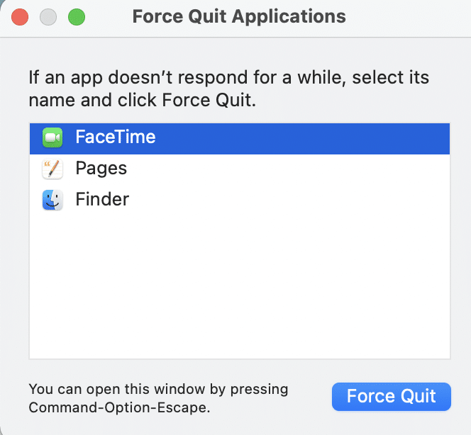 Select FaceTime from this list and click on Force Quit