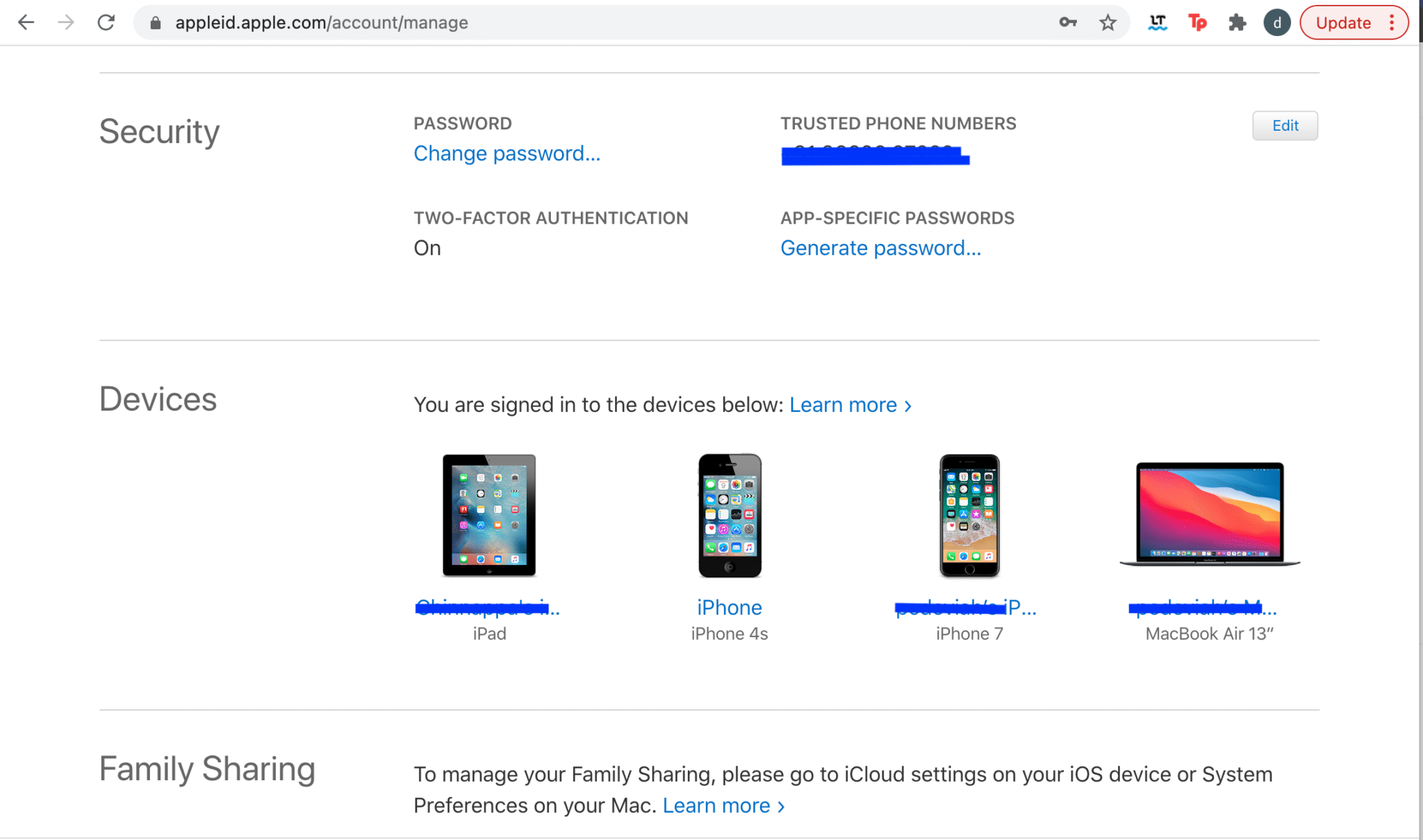 Select the desired device under the Devices section to check the serial number. Apple service and support coverage