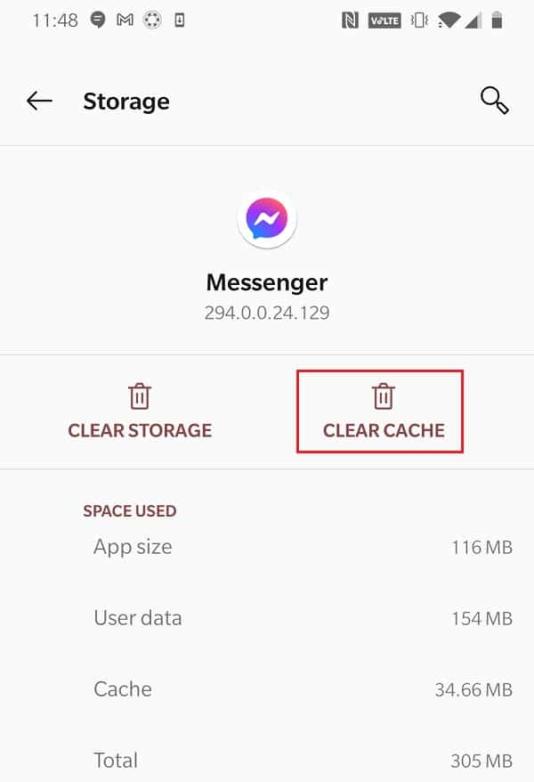 Tap Clear Cache to clear cache data pertaining to Messenger