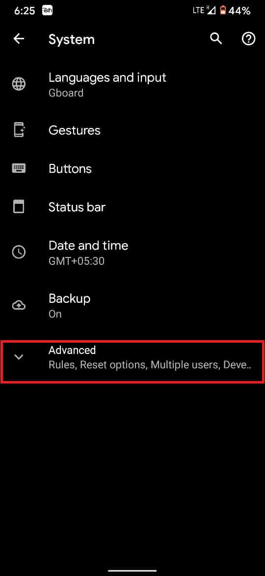Tap on 'Advanced' to reveal all options