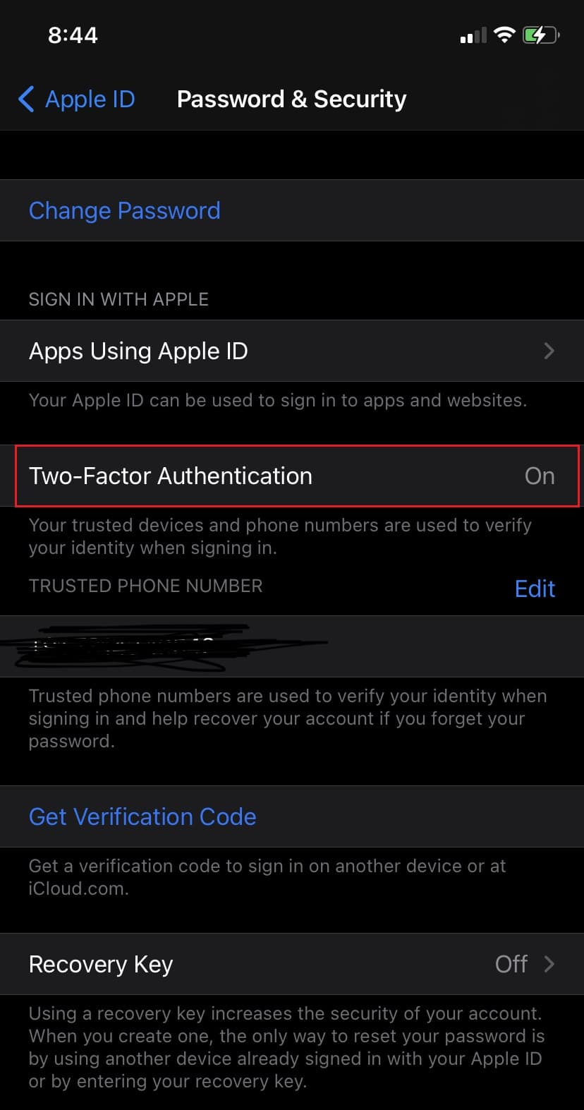 Tap on Turn On Two-Factor Authentication   Apple Two Factor Authentication