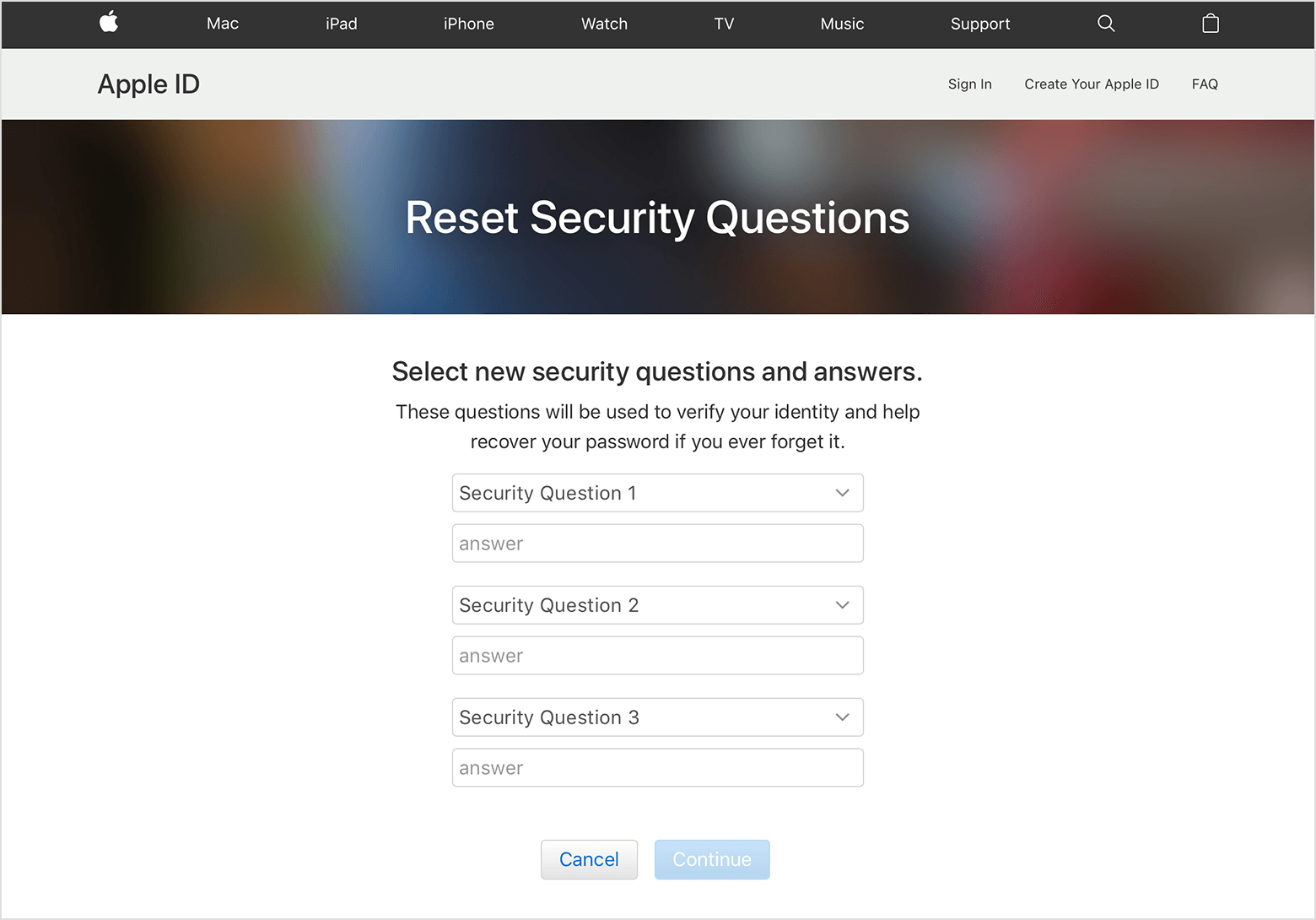 Tap on Update to save the changes. Apple cannot reset security questions