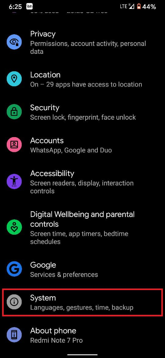Tap on the 'System' settings
