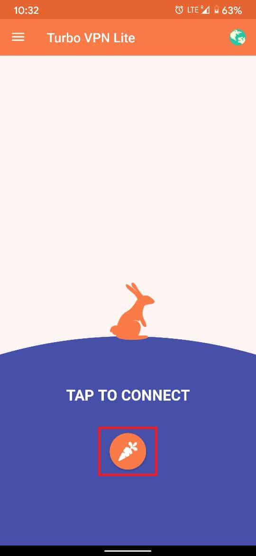 اضغط على زر Orange Carrot للاتصال بشبكة VPN