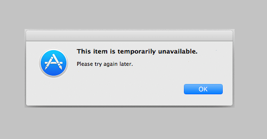 This Item Is Temporarily Unavailable Error