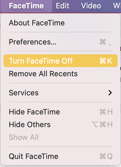 Toggle the Facetime On to enable it again | Fix FaceTime Not Working on Mac