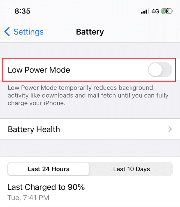 Turn off the toggle for Low power mode on iPhone. How to Make AirPods Louder