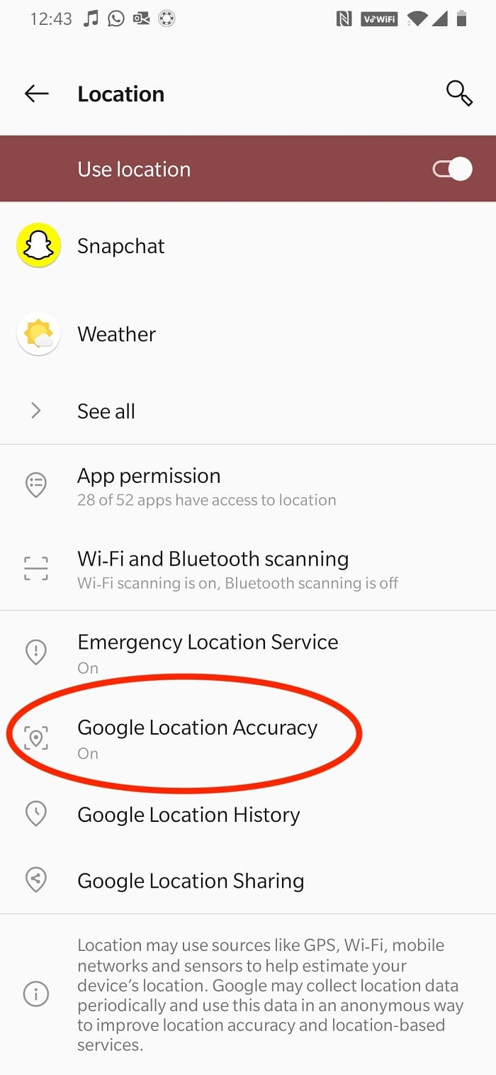 Turn the toggle ON for Improve Location Accuracy