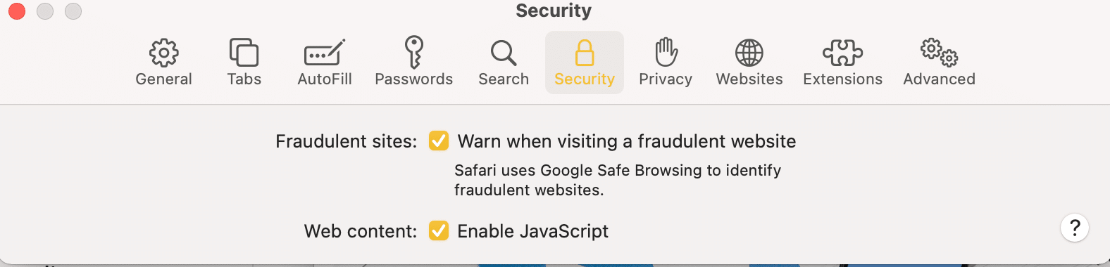 Turn the toggle ON for Warn when visiting a fraudulent website