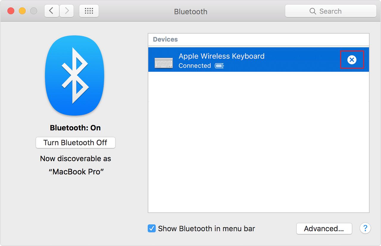 Unpair Bluetooth device then pair it again on Mac