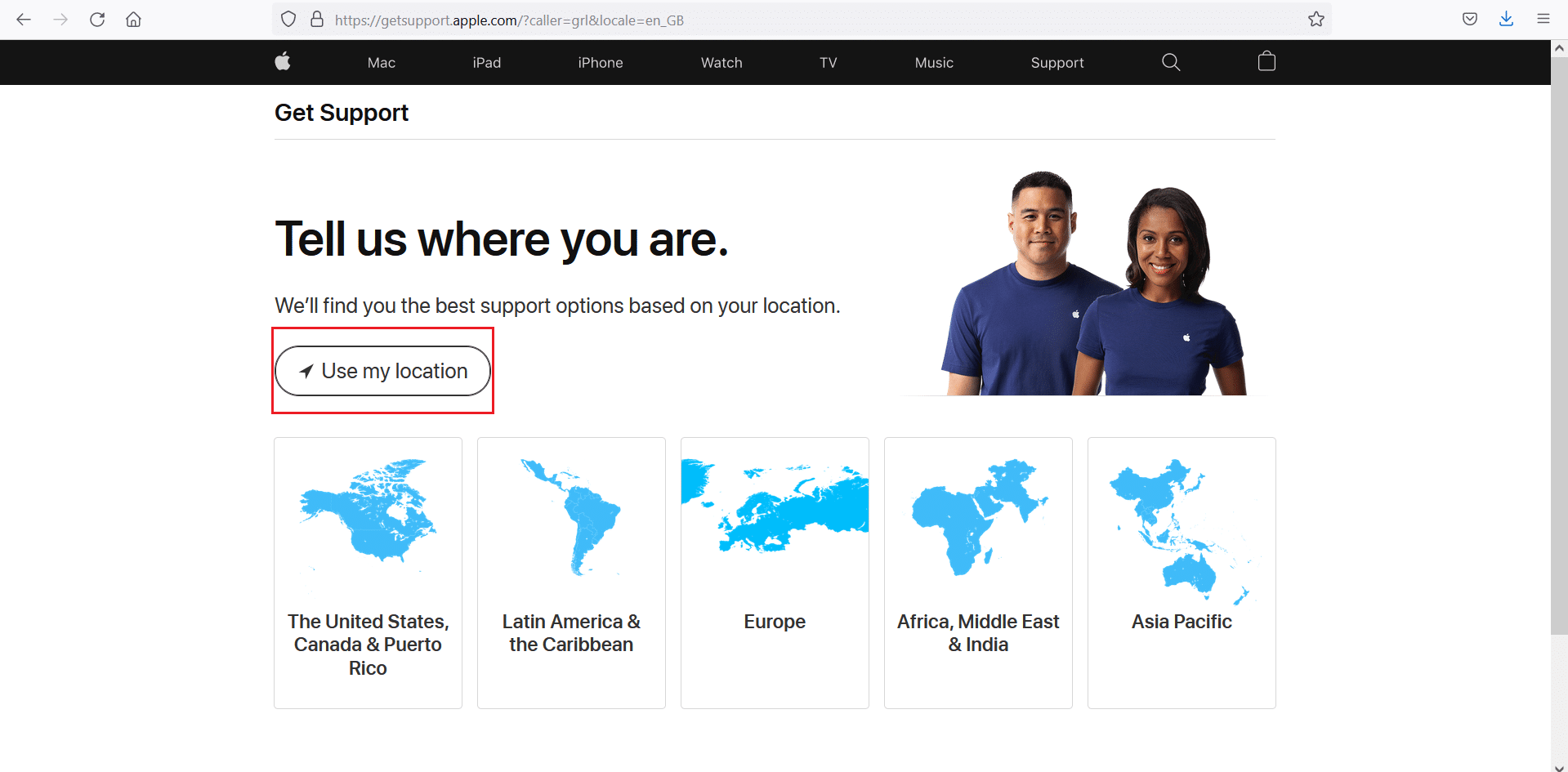 Use my location for Apple Support