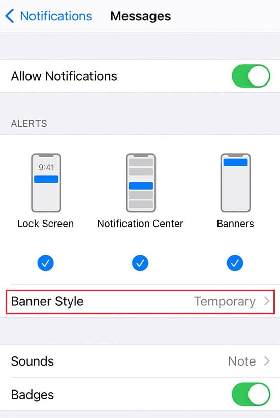 banner style change iphone. Fix iPhone Message Notification Not Working