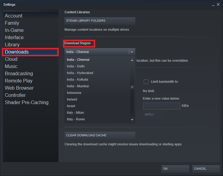 Click on the section titled Download Region to reveal the list of servers that Steam has across the world. Fix Steam update stuck