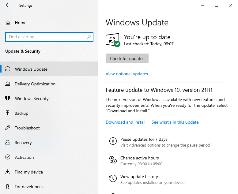 Click on Windows Update and install the programs and applications to their latest version.