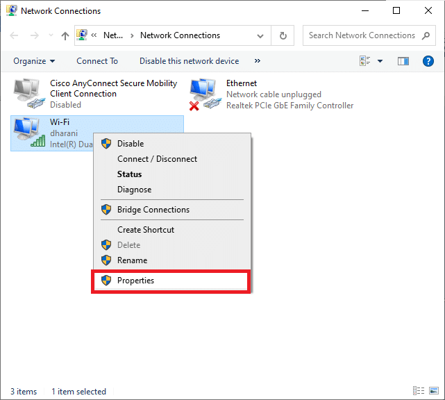 Here, right-click on your network connection and select the Properties option.