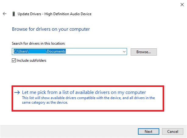 Here, select Let me pick from a list of available drivers on my computer