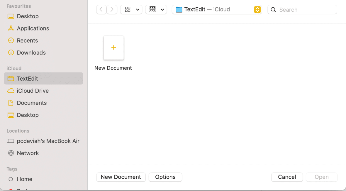 In TextEdit, select New Document |How to Create Text File on Mac