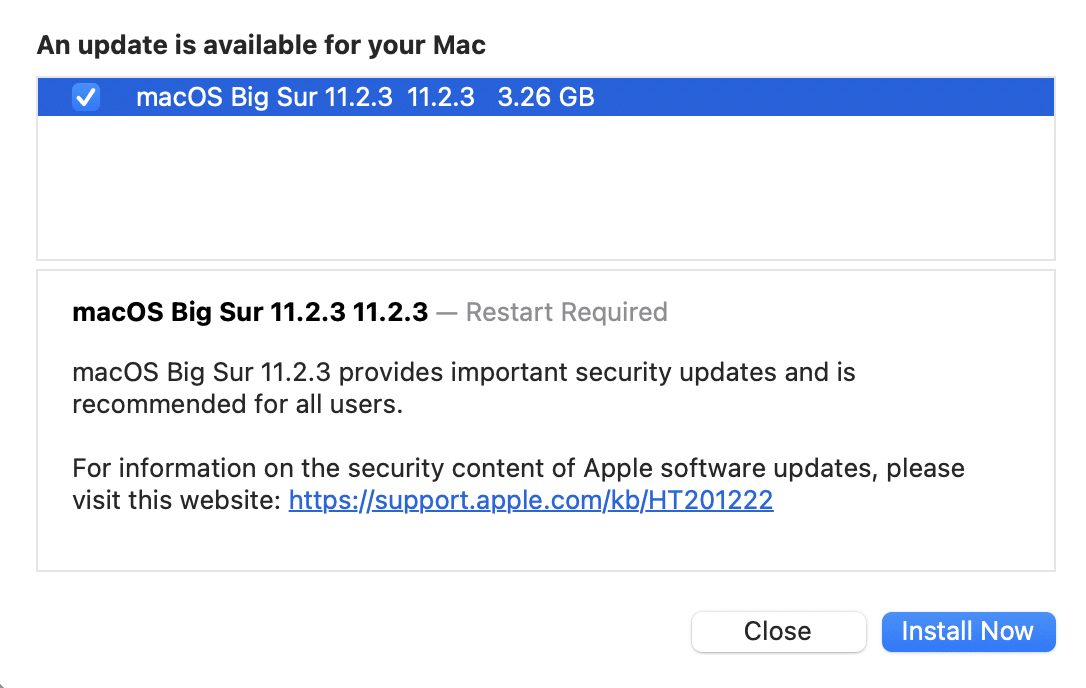 macOS Big Sur update. install now
