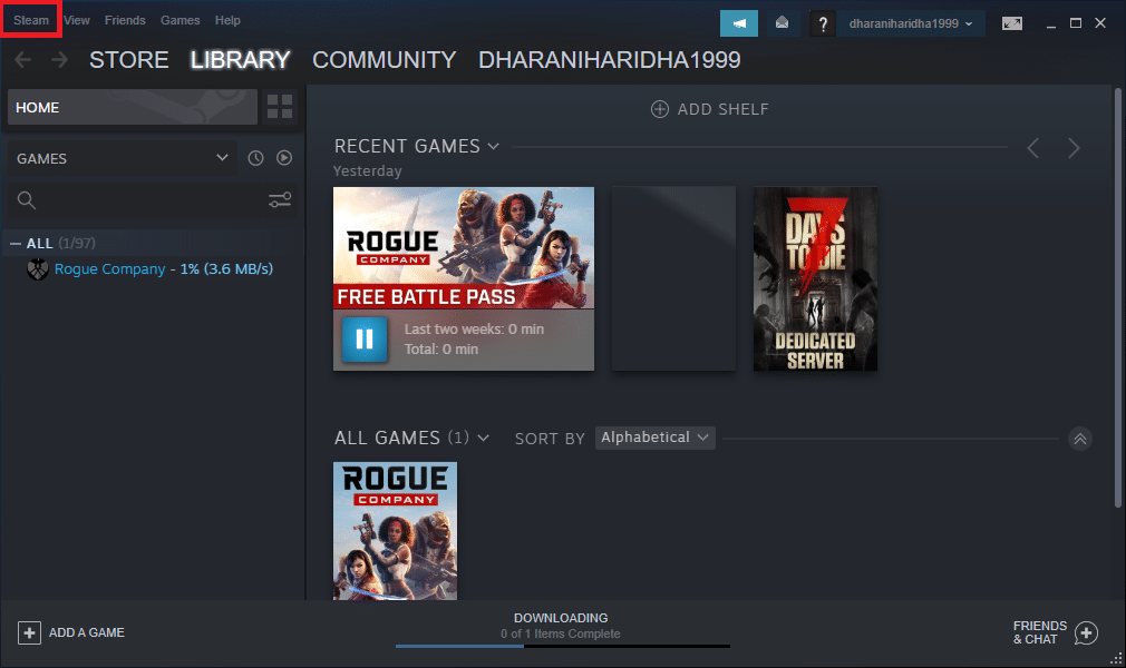 Launch the Steam application on your system and select the Steam option in the top left corner of the screen.