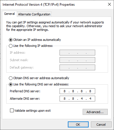 """Now, check the boxes """"Obtain an IP address automatically"""" and """"Use the following DNS server address""""."""