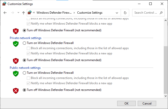 Now, check the boxes; turn off Windows Defender Firewall (not recommended)
