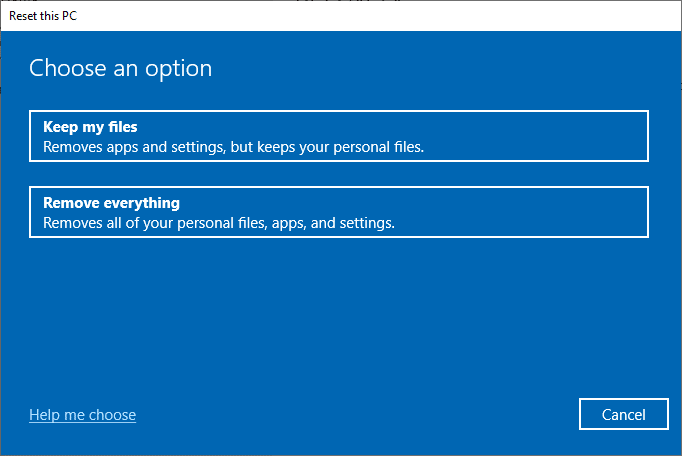 Now, choose an option from the Reset this PC window. Fix No sound on Steam games