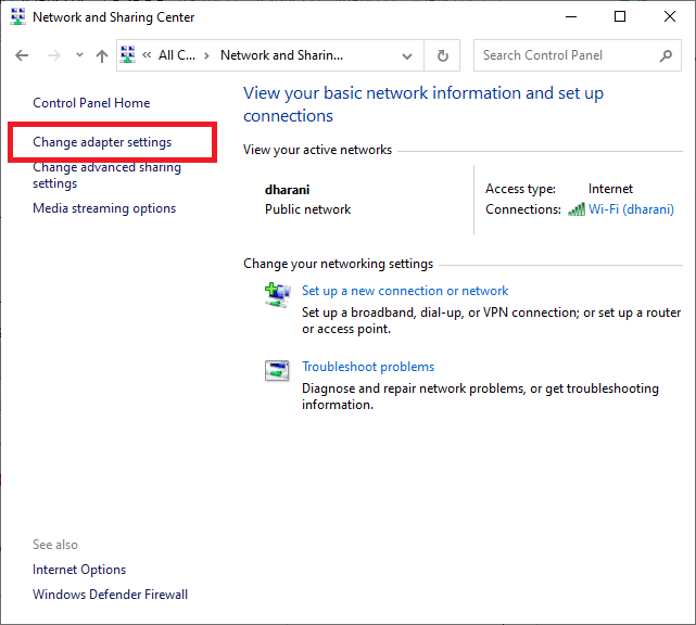 Now, click on Change adapter settings   How to Fix Windows Update Stuck Installing