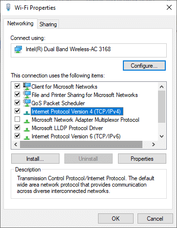 Now, double-click on Internet Protocol Version 4(TCP/IPV4). This will open the Properties window.