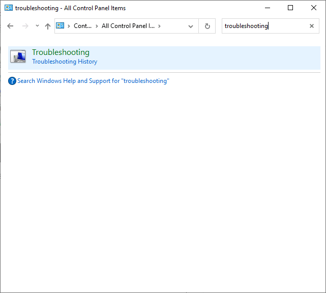 Now, search for the Troubleshooting option using the search menu. How to Fix Error Code 0x80004005