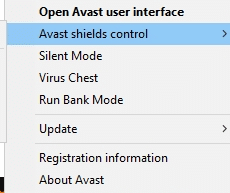 Now, select the Avast shields control option, and you can temporarily disable Avast
