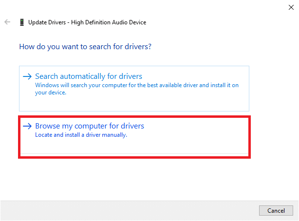 Now, select the Browse my computer for drivers option. This will allow you to locate and install a driver manually.