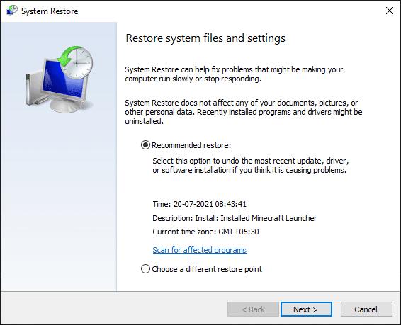 System Restore window click on Next. Fix No sound on Steam games