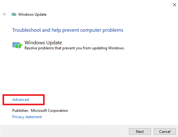 Now, the window pops up, as shown in the below picture. Click on Advanced.