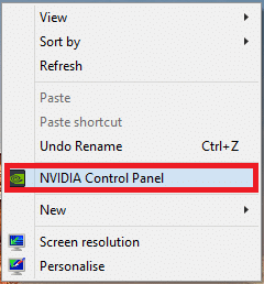 Right-click on any free space on the desktop and click on NVIDIA Control Panel as depicted below.