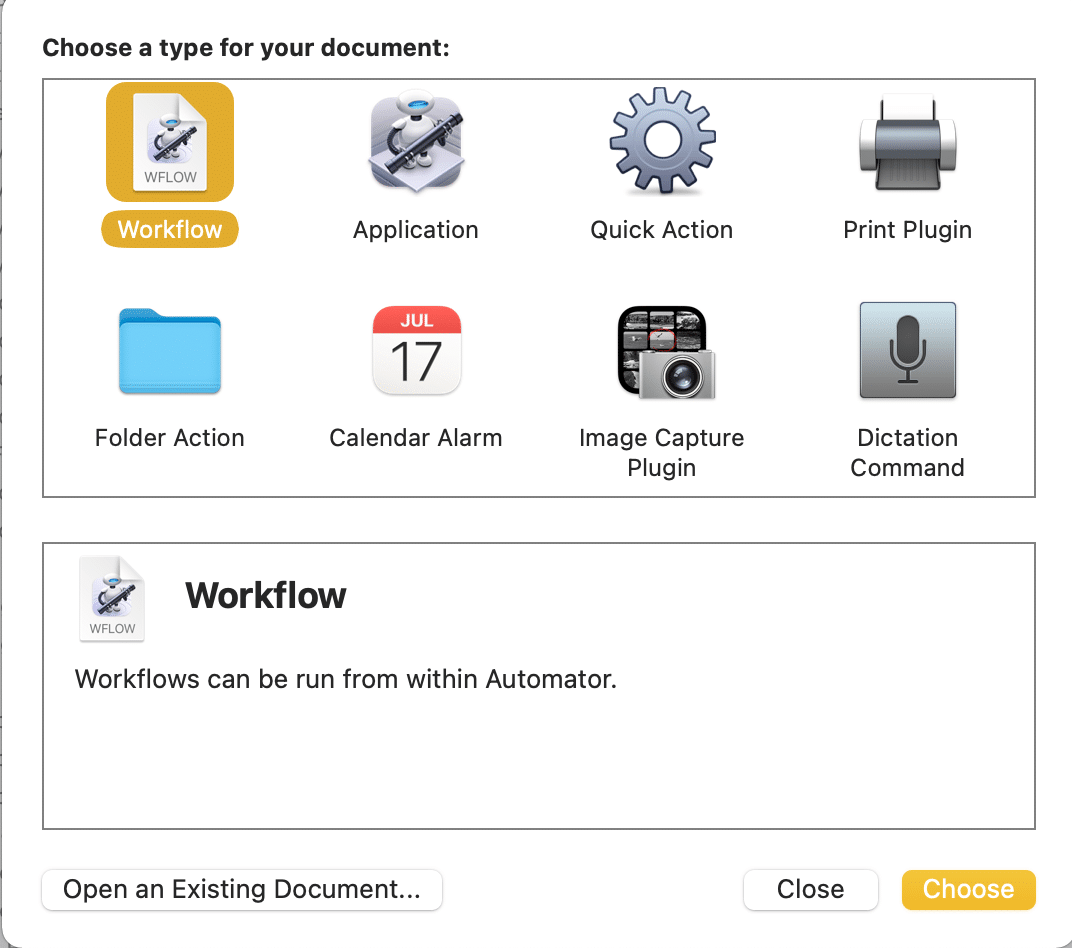 Select an Application and click on Choose. How to Create Text File on Mac