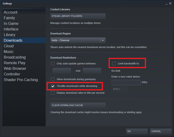 While you are at it, observe the download restrictions panel below the download region. Here, make sure the Limit bandwidth option is unchecked and the Throttle downloads while the streaming option is enabled.
