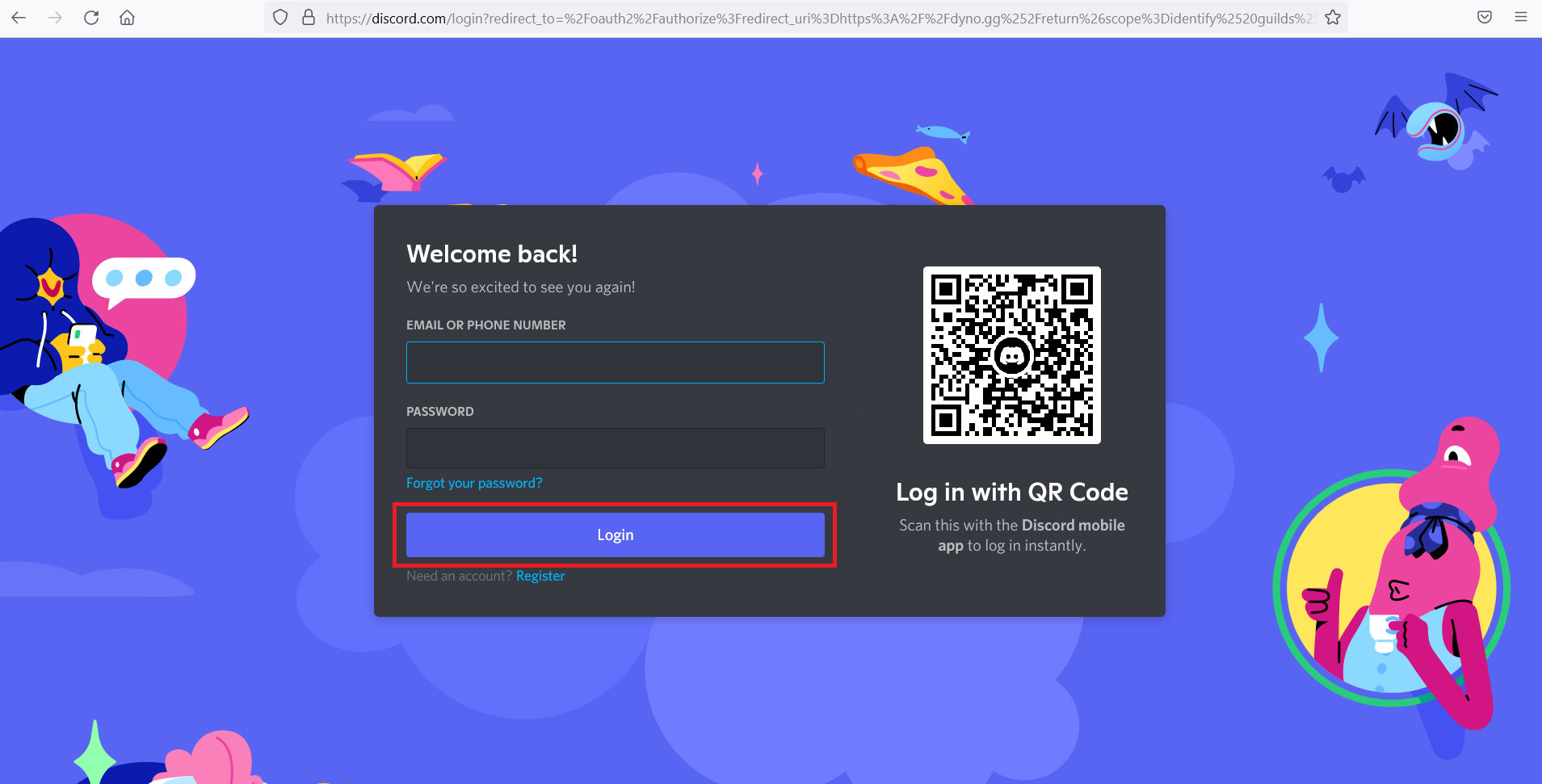 Discord Login Page. not getting Discord notifications PC