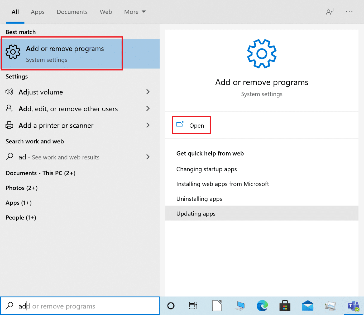 Launch Add or Remove programs by searching them in the Windows search box | 15 Ways to Fix Discord Notifications Not working