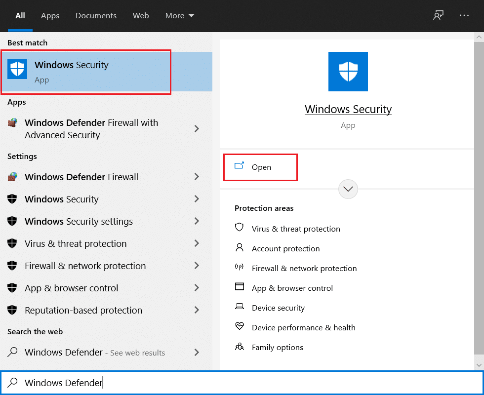 Open Windows Security from Start Menu search