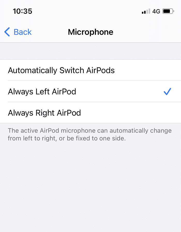 Select Always Left or Always Right AirPod