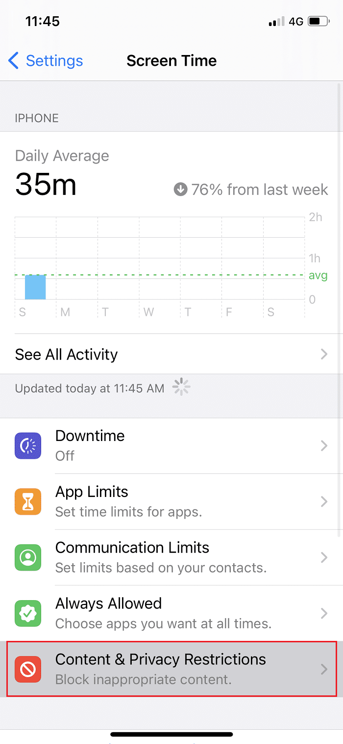 Tap on Screen Time then tap onContent & Privacy Restrictions