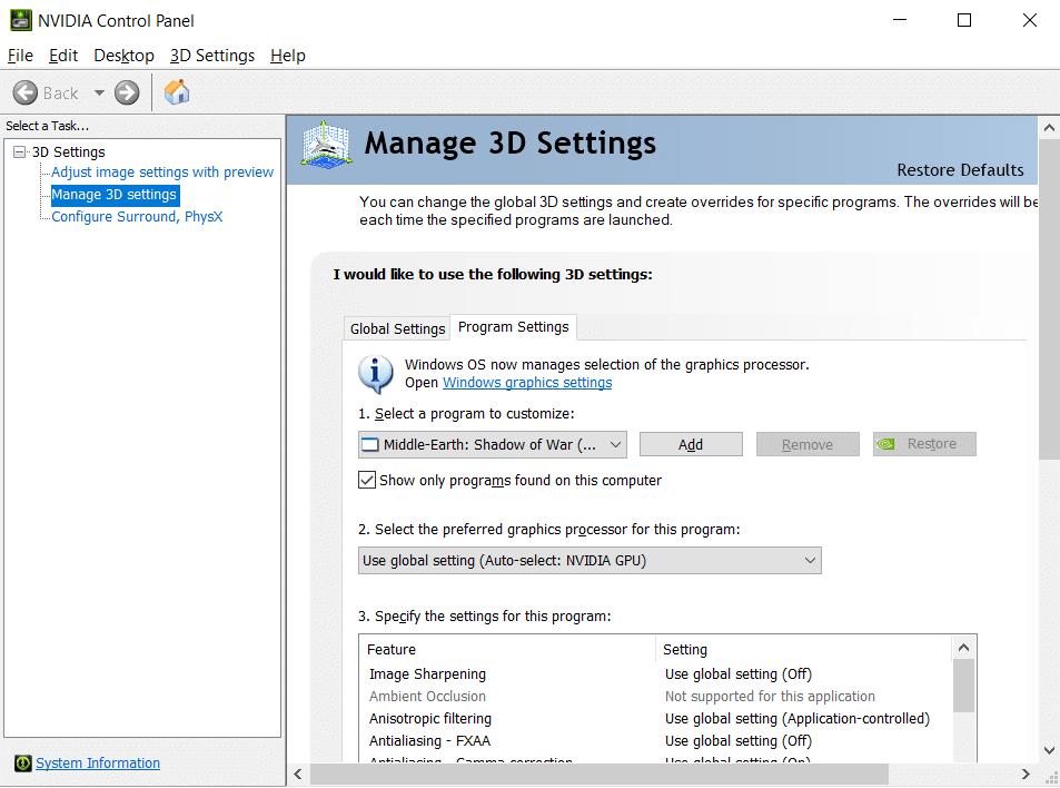 Under Manage 3D Settings click on Program Settings