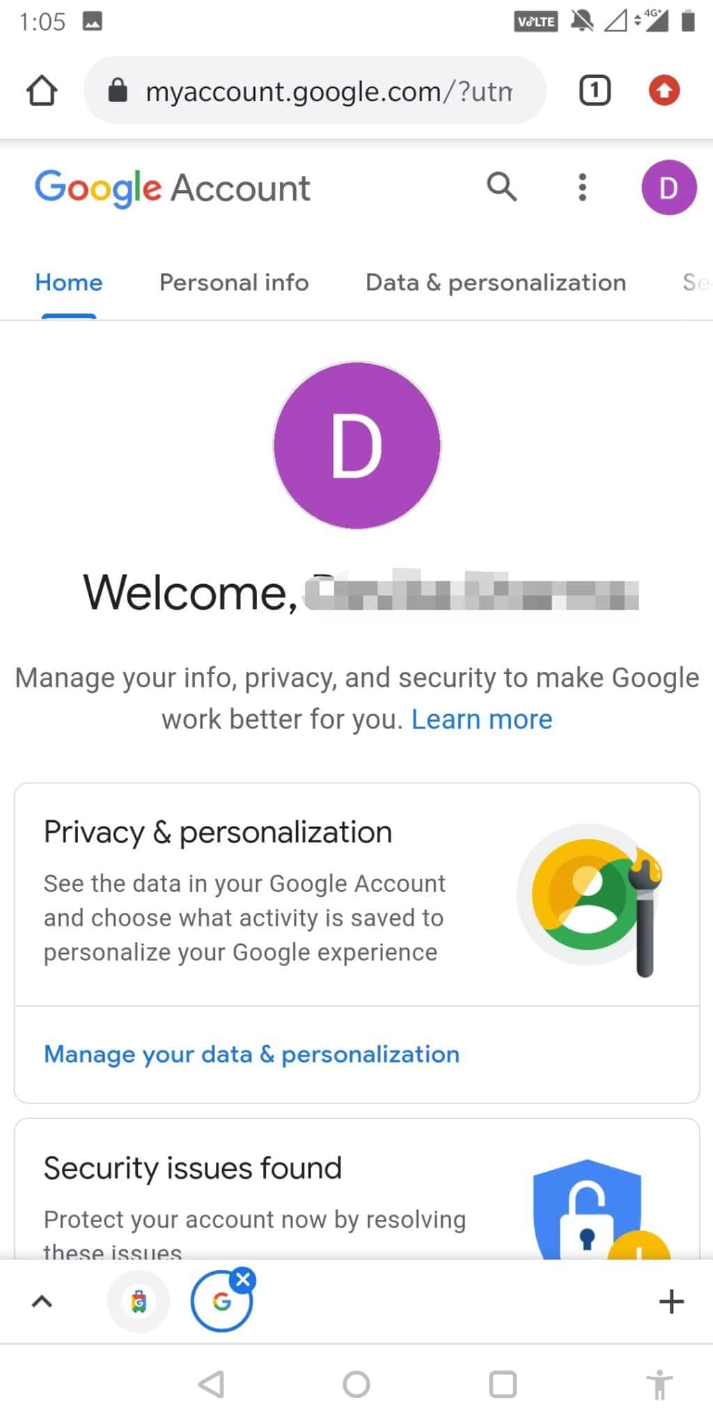 You will now be redirected to your Google Account Settings