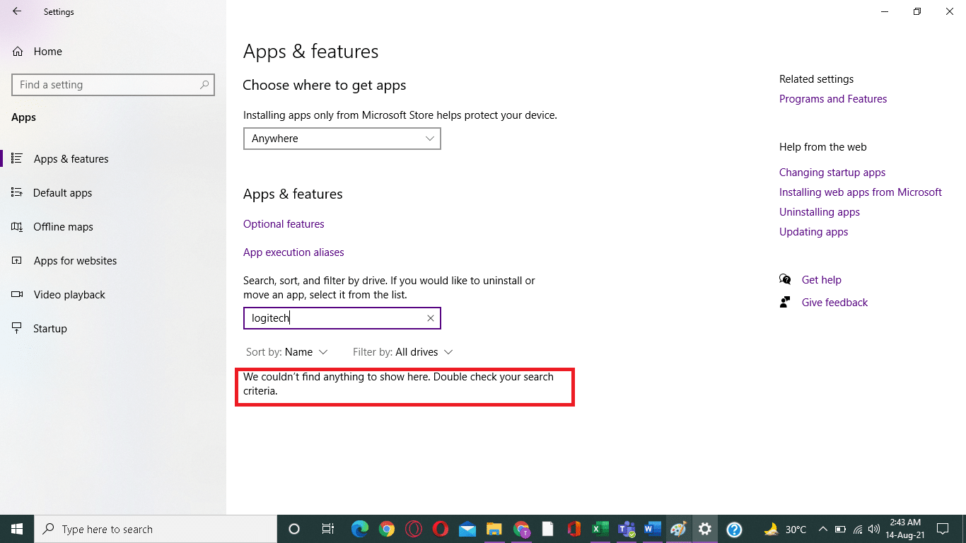 application could not found