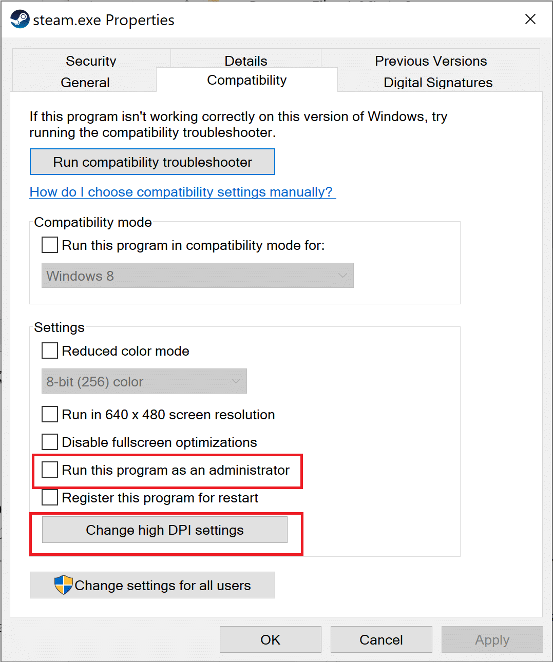 check the box 'Run this program as an administrator' and click on Change high DPI settings