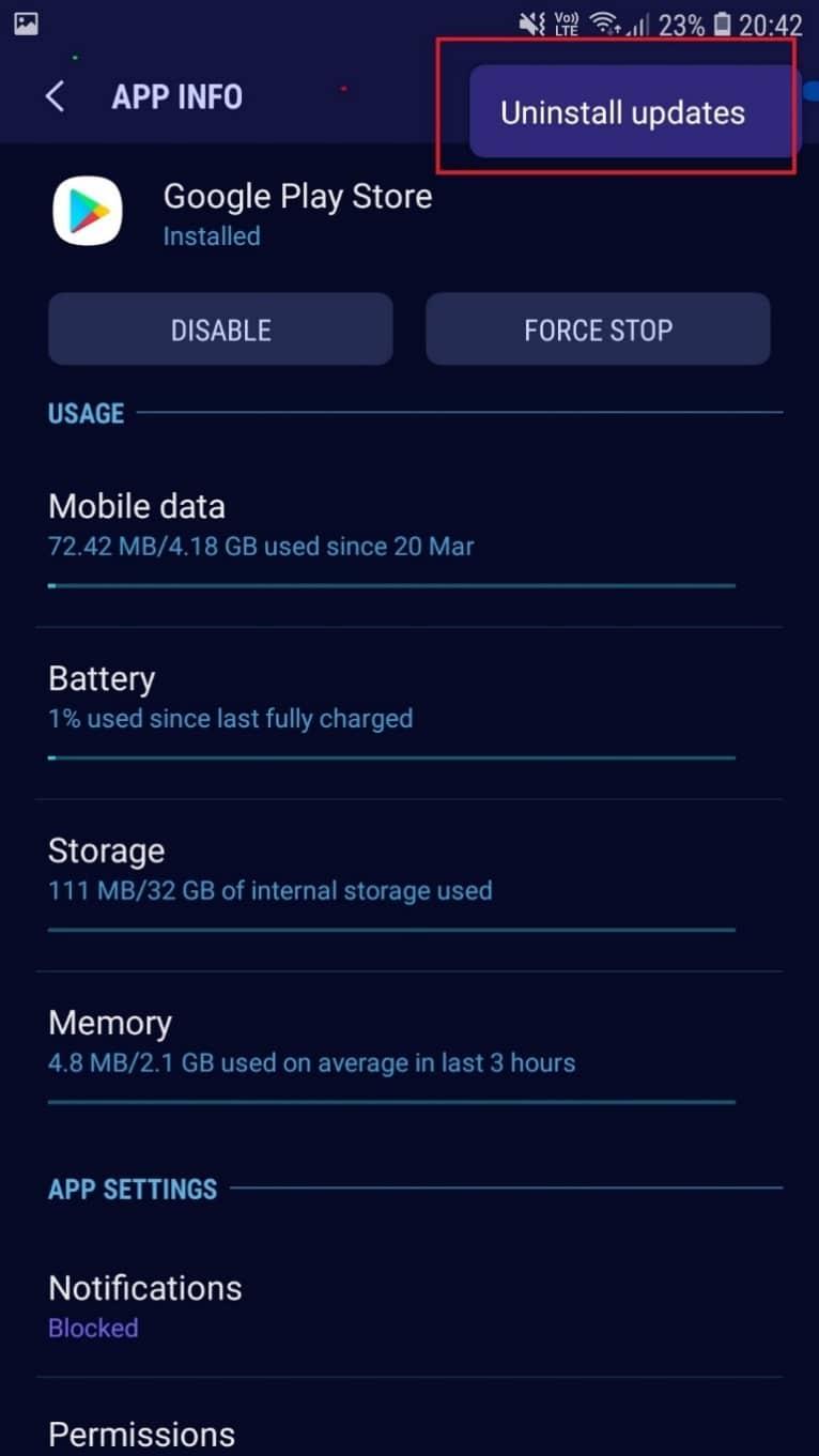 choose Uninstall Updates | Fix Play Store DF-DFERH-01 Error