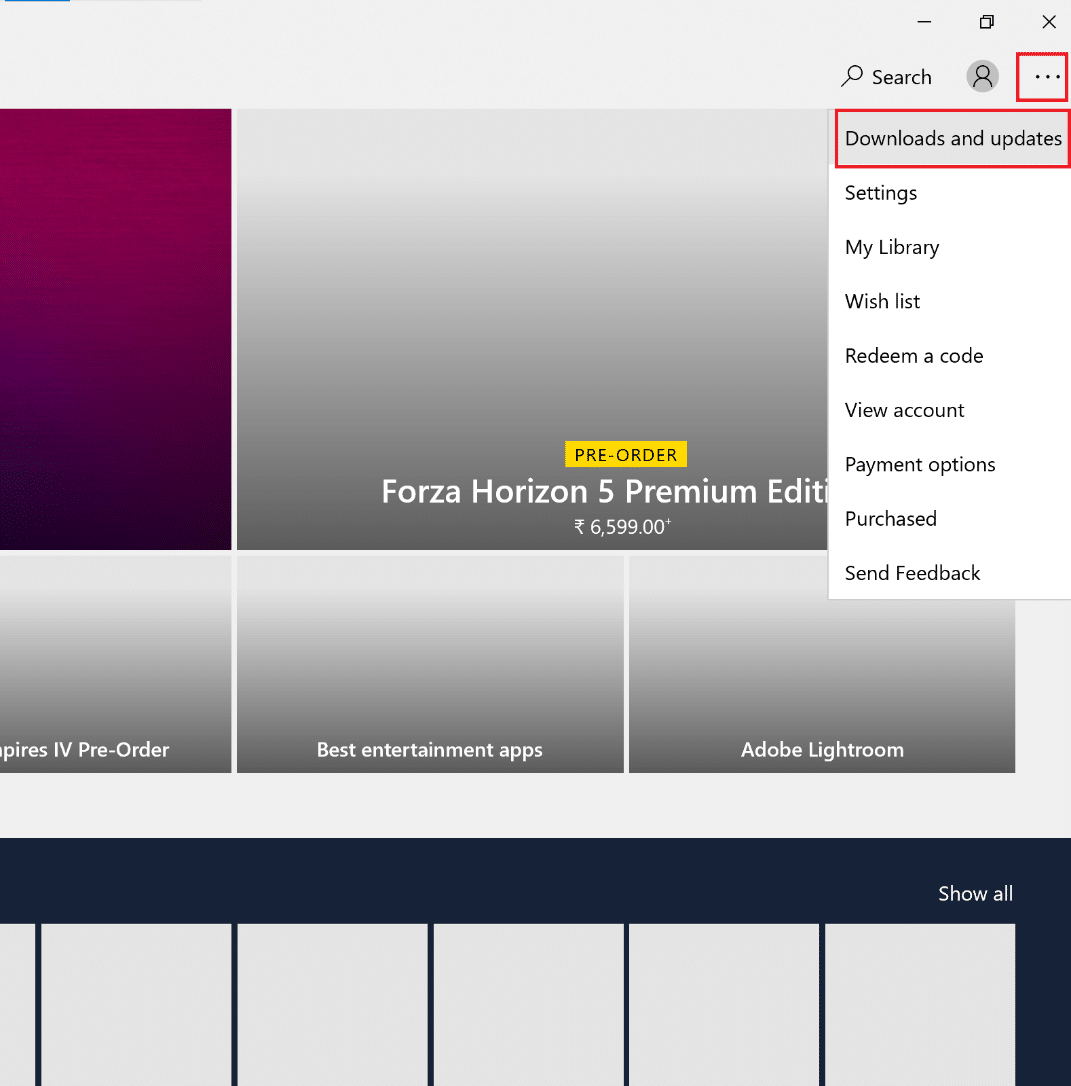 click on downloads and updates in Store. How to Fix Hulu Token Error 5