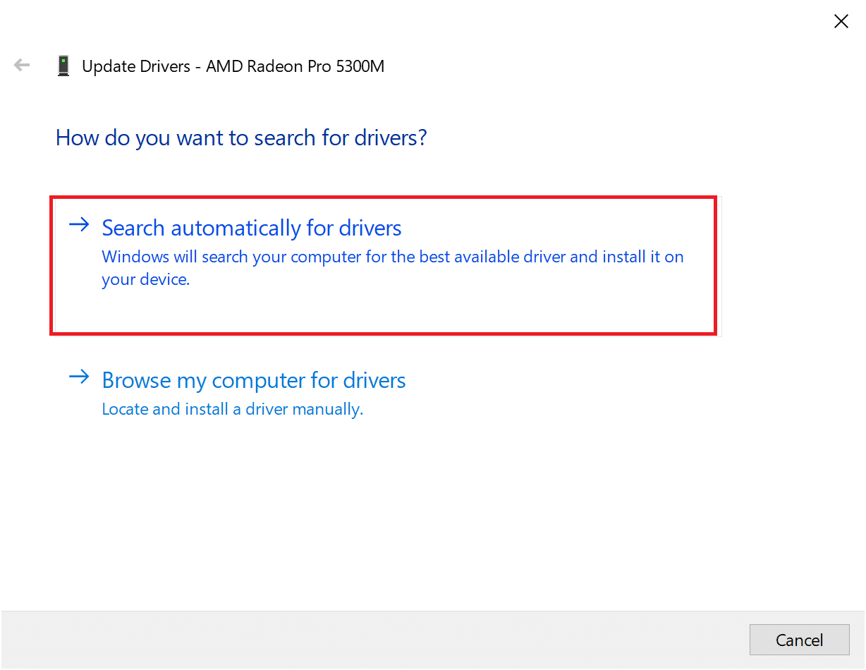 click on Search automatically for updated driver software. Fix Destiny 2 Error Code Broccoli on Windows 10